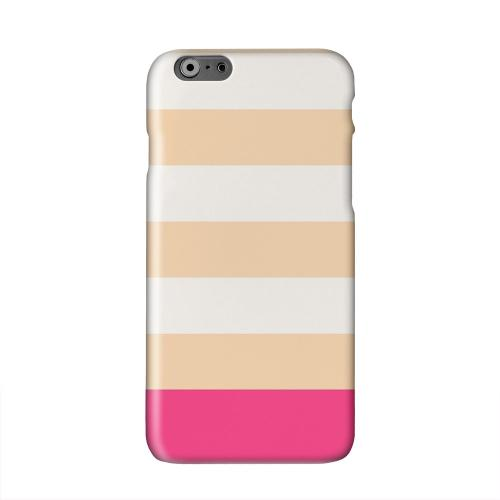 Pink Candy Stripes w/ Pink Bar Solid White Hard Case Cover for Apple iPhone 6 PLUS/6S PLUS (5.5 inch)