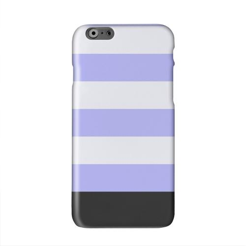 Purple Candy Stripes w/ Black Bar Solid White Hard Case Cover for Apple iPhone 6 PLUS/6S PLUS (5.5 inch)