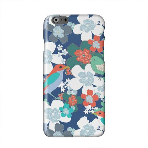 Birds & Flowers on Blue/ Red Solid White Hard Case Cover for Apple iPhone 6 PLUS/6S PLUS (5.5 inch)