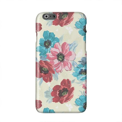 Blue/ Red Floral Solid White Hard Case Cover for Apple iPhone 6 PLUS/6S PLUS (5.5 inch)