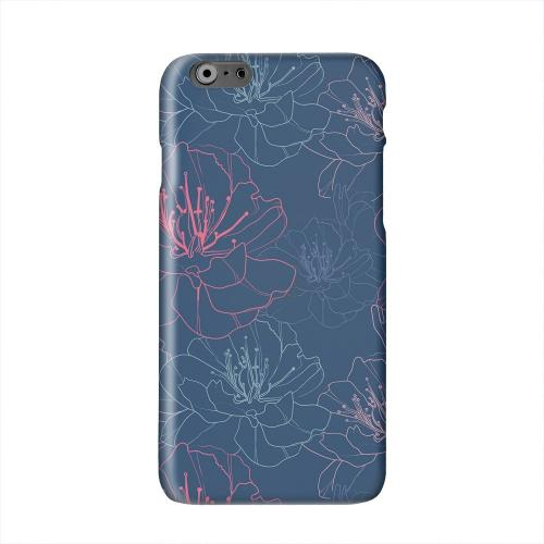 Flower Outline on Blue Solid White Hard Case Cover for Apple iPhone 6 PLUS/6S PLUS (5.5 inch)