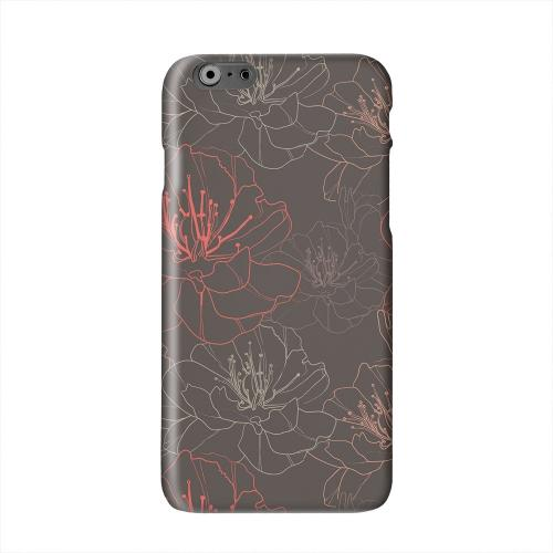 Flower Outline on Brown Solid White Hard Case Cover for Apple iPhone 6 PLUS/6S PLUS (5.5 inch)