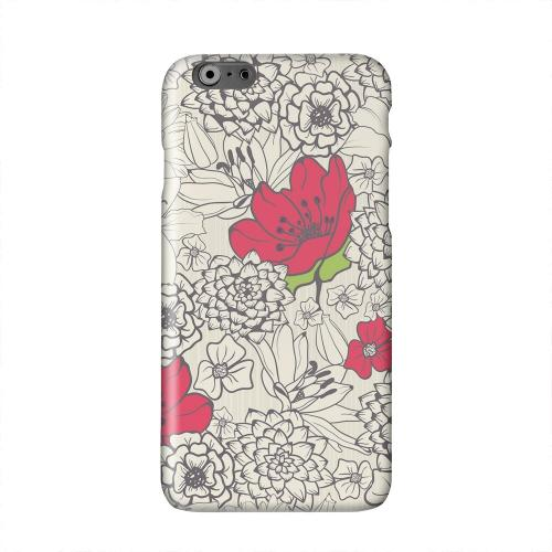 Flower Outline Red Accent Solid White Hard Case Cover for Apple iPhone 6 PLUS/6S PLUS (5.5 inch)