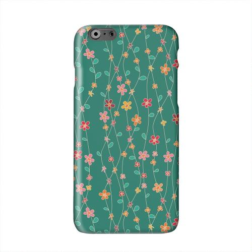 Flowers & Vines on Green Solid White Hard Case Cover for Apple iPhone 6 PLUS/6S PLUS (5.5 inch)
