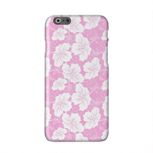 White Hibiscus on Pink Solid White Hard Case Cover for Apple iPhone 6 PLUS/6S PLUS (5.5 inch)
