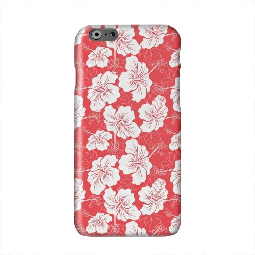 White Hibiscus on Red Solid White Hard Case Cover for Apple iPhone 6 PLUS/6S PLUS (5.5 inch)