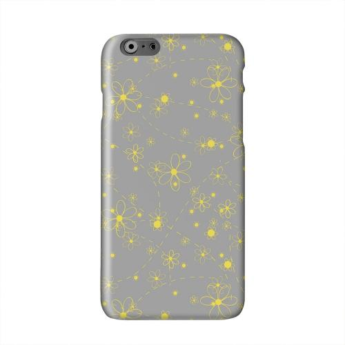 Yellow Daisies on Gray Solid White Hard Case Cover for Apple iPhone 6 PLUS/6S PLUS (5.5 inch)