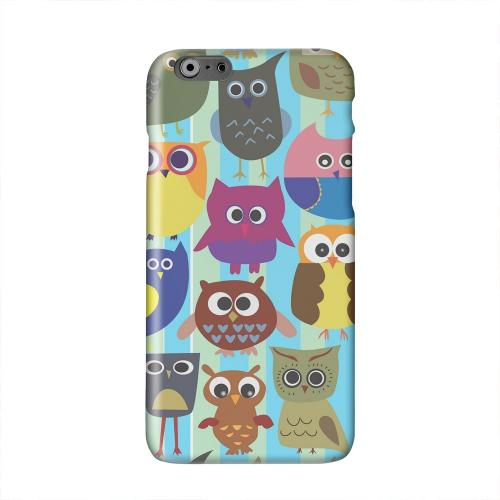 Colorful Owls on Blue/Green Stripes Solid White Hard Case Cover for Apple iPhone 6 PLUS/6S PLUS (5.5 inch)