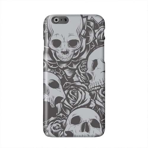 Skulls Rose Gray Solid White Hard Case Cover for Apple iPhone 6 PLUS/6S PLUS (5.5 inch)
