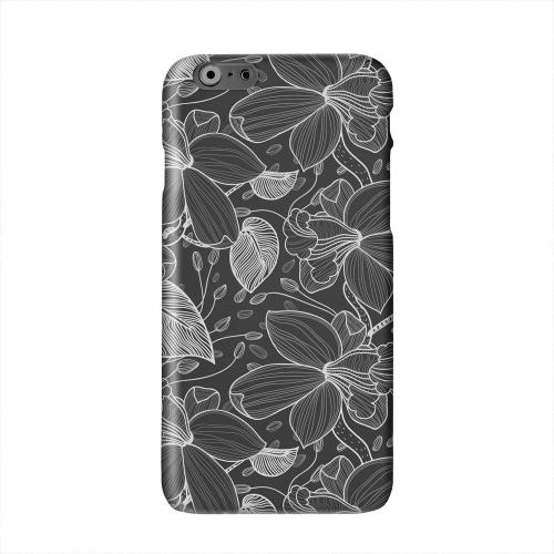 White on Black Orchid Lines Solid White Hard Case Cover for Apple iPhone 6 PLUS/6S PLUS (5.5 inch)