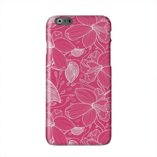 White on Pink Orchid Lines Solid White Hard Case Cover for Apple iPhone 6 PLUS/6S PLUS (5.5 inch)