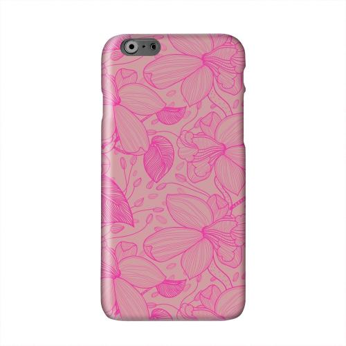 Pink on Pink Orchid Lines Solid White Hard Case Cover for Apple iPhone 6 PLUS/6S PLUS (5.5 inch)