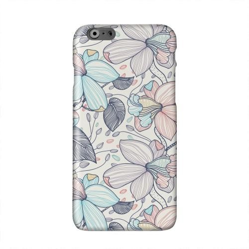 Colorful Orchid Lines Solid White Hard Case Cover for Apple iPhone 6 Plus