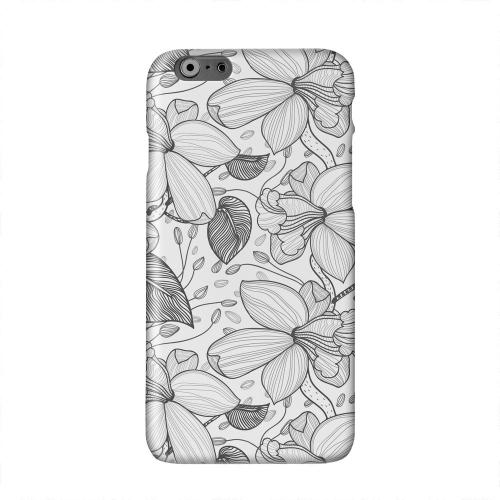 Black on White Orchid Lines Solid White Hard Case Cover for Apple iPhone 6 Plus