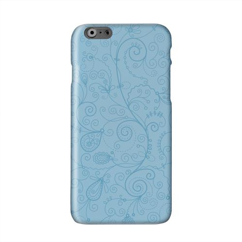 Floral 1 Dusk Blue Solid White Hard Case Cover for Apple iPhone 6 Plus
