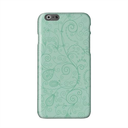 Floral 1 Grayed Jade Solid White Hard Case Cover for Apple iPhone 6 Plus