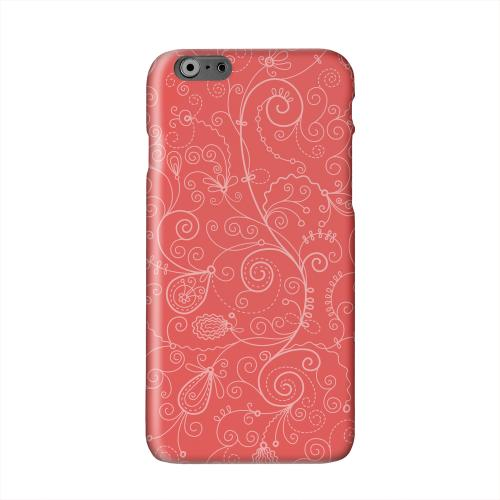 Floral 1 Poppy Red Solid White Hard Case Cover for Apple iPhone 6 Plus
