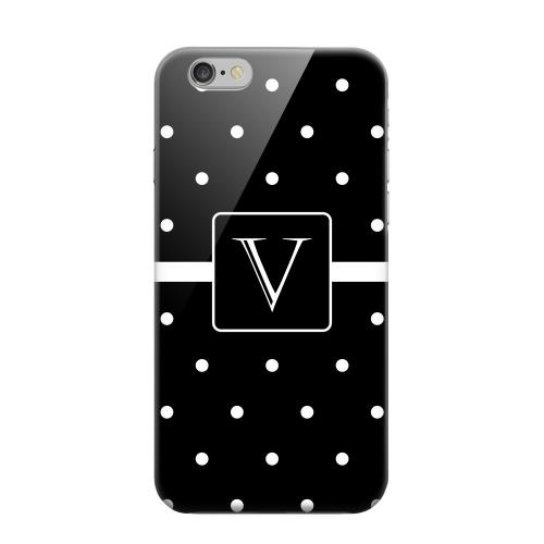 Geeks Designer Line (GDL) Apple iPhone 6 Matte Hard Back Cover - Monogram V on Classic Mini Polka Dots