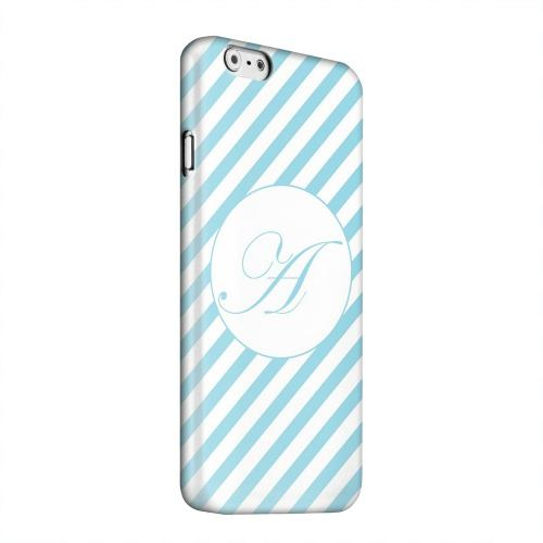 Geeks Designer Line (GDL) Apple iPhone 6 Matte Hard Back Cover - Calligraphy Monogram A on Mint Slanted Stripes
