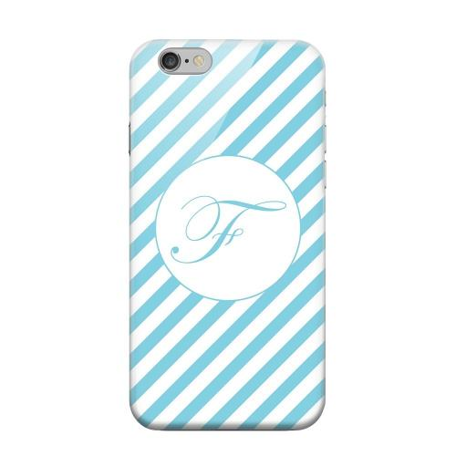 Geeks Designer Line (GDL) Apple iPhone 6 Matte Hard Back Cover - Calligraphy Monogram F on Mint Slanted Stripes