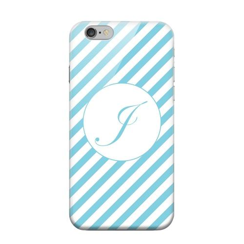 Geeks Designer Line (GDL) Apple iPhone 6 Matte Hard Back Cover - Calligraphy Monogram J on Mint Slanted Stripes