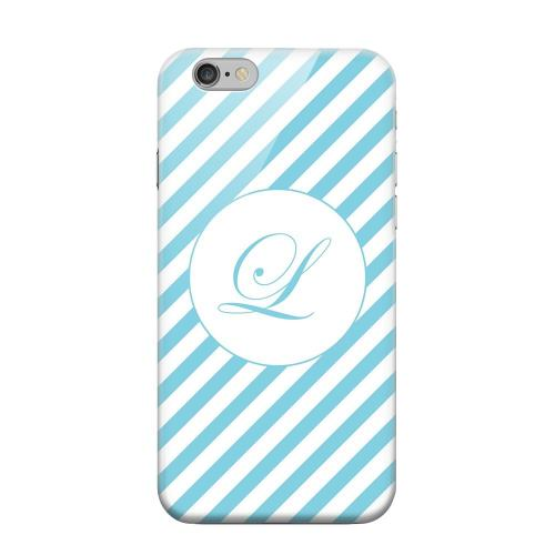 Geeks Designer Line (GDL) Apple iPhone 6 Matte Hard Back Cover - Calligraphy Monogram L on Mint Slanted Stripes