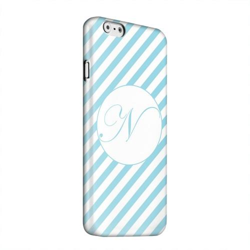 Geeks Designer Line (GDL) Apple iPhone 6 Matte Hard Back Cover - Calligraphy Monogram N on Mint Slanted Stripes