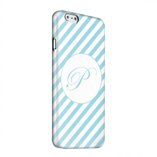 Geeks Designer Line (GDL) Apple iPhone 6 Matte Hard Back Cover - Calligraphy Monogram P on Mint Slanted Stripes