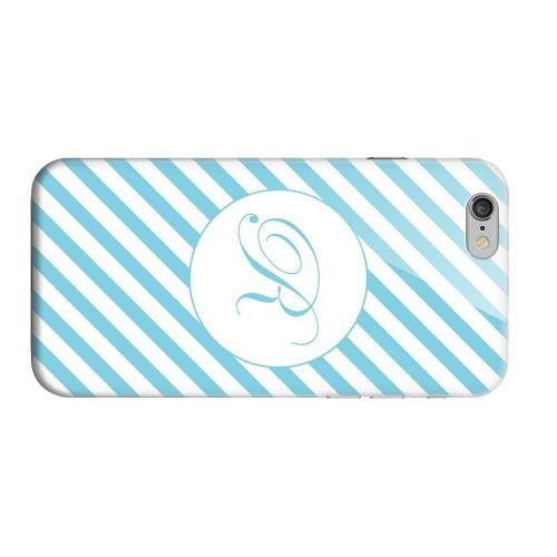 Geeks Designer Line (GDL) Apple iPhone 6 Matte Hard Back Cover - Calligraphy Monogram R on Mint Slanted Stripes