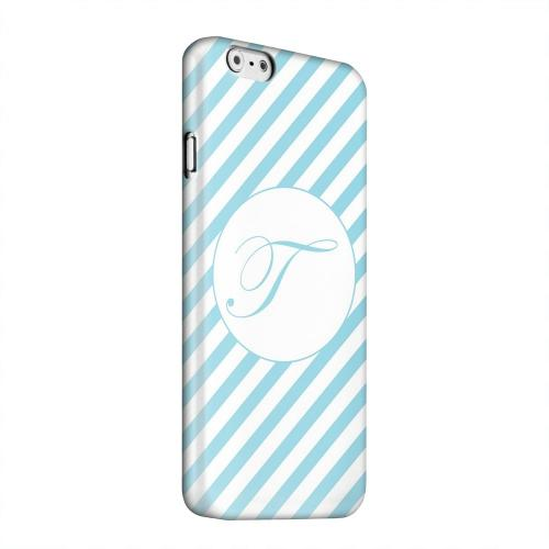 Geeks Designer Line (GDL) Apple iPhone 6 Matte Hard Back Cover - Calligraphy Monogram T on Mint Slanted Stripes