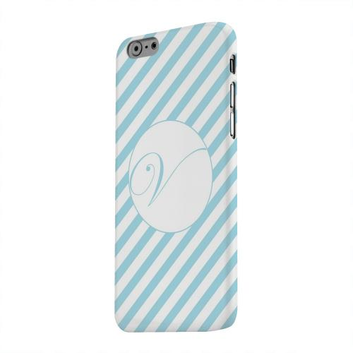 Geeks Designer Line (GDL) Apple iPhone 6 Matte Hard Back Cover - Calligraphy Monogram V on Mint Slanted Stripes