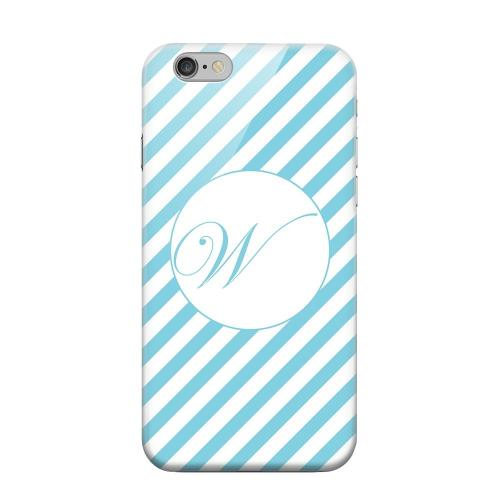 Geeks Designer Line (GDL) Apple iPhone 6 Matte Hard Back Cover - Calligraphy Monogram W on Mint Slanted Stripes