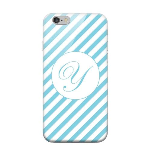 Geeks Designer Line (GDL) Apple iPhone 6 Matte Hard Back Cover - Calligraphy Monogram Y on Mint Slanted Stripes