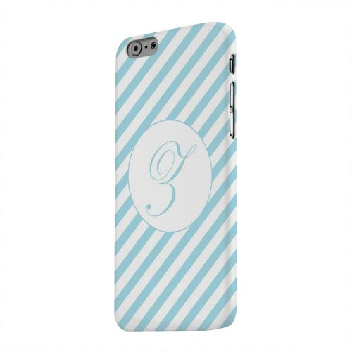 Geeks Designer Line (GDL) Apple iPhone 6 Matte Hard Back Cover - Calligraphy Monogram Z on Mint Slanted Stripes