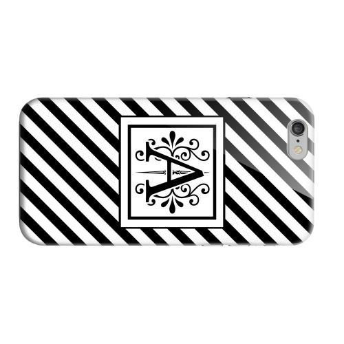 Geeks Designer Line (GDL) Apple iPhone 6 Matte Hard Back Cover - Vintage Vine Monogram A On Black Slanted Stripes