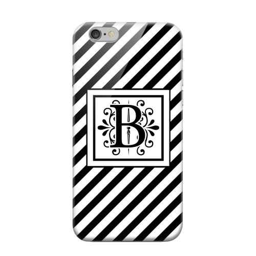 Geeks Designer Line (GDL) Apple iPhone 6 Matte Hard Back Cover - Vintage Vine Monogram B On Black Slanted Stripes