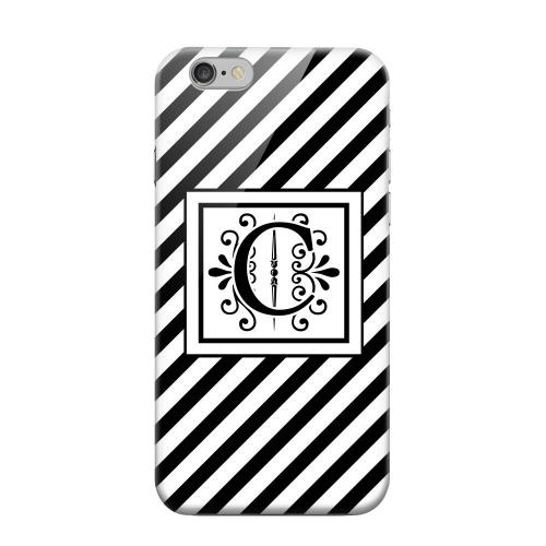 Geeks Designer Line (GDL) Apple iPhone 6 Matte Hard Back Cover - Vintage Vine Monogram C On Black Slanted Stripes