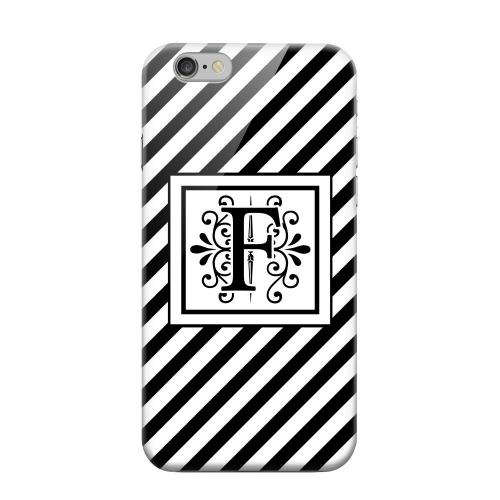 Geeks Designer Line (GDL) Apple iPhone 6 Matte Hard Back Cover - Vintage Vine Monogram F On Black Slanted Stripes