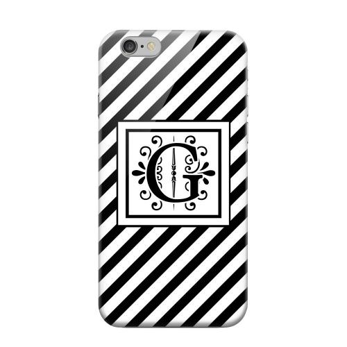 Geeks Designer Line (GDL) Apple iPhone 6 Matte Hard Back Cover - Vintage Vine Monogram G On Black Slanted Stripes