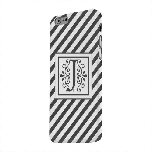 Geeks Designer Line (GDL) Apple iPhone 6 Matte Hard Back Cover - Vintage Vine Monogram J On Black Slanted Stripes
