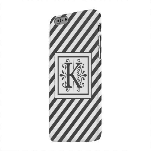 Geeks Designer Line (GDL) Apple iPhone 6 Matte Hard Back Cover - Vintage Vine Monogram K On Black Slanted Stripes