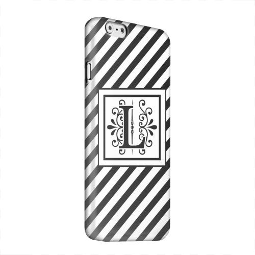 Geeks Designer Line (GDL) Apple iPhone 6 Matte Hard Back Cover - Vintage Vine Monogram L On Black Slanted Stripes