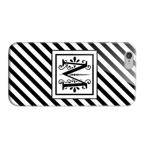Geeks Designer Line (GDL) Apple iPhone 6 Matte Hard Back Cover - Vintage Vine Monogram M On Black Slanted Stripes
