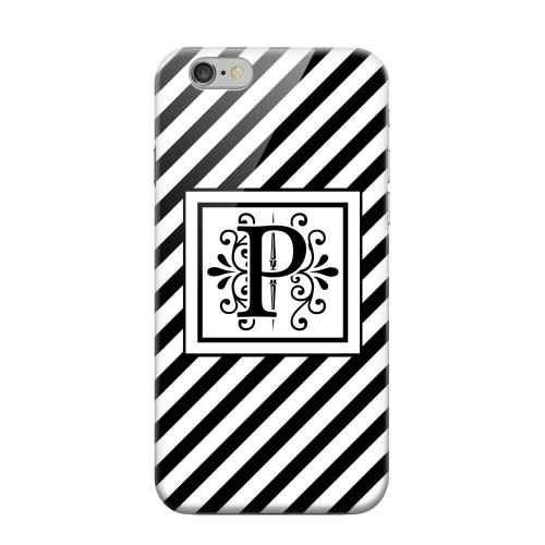 Geeks Designer Line (GDL) Apple iPhone 6 Matte Hard Back Cover - Vintage Vine Monogram P On Black Slanted Stripes