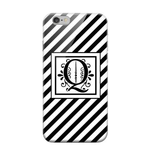 Geeks Designer Line (GDL) Apple iPhone 6 Matte Hard Back Cover - Vintage Vine Monogram Q On Black Slanted Stripes