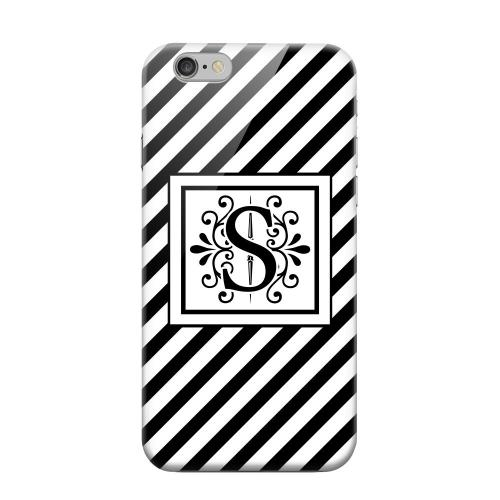 Geeks Designer Line (GDL) Apple iPhone 6 Matte Hard Back Cover - Vintage Vine Monogram S On Black Slanted Stripes