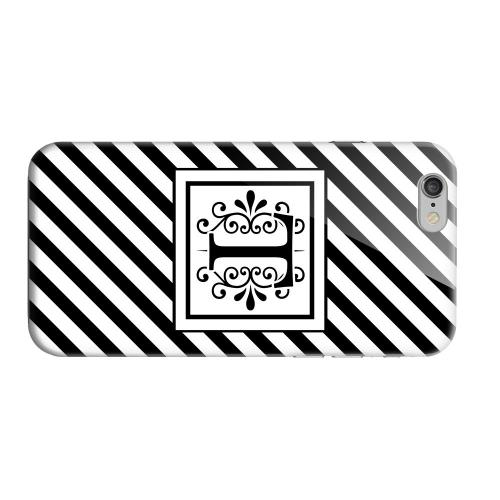 Geeks Designer Line (GDL) Apple iPhone 6 Matte Hard Back Cover - Vintage Vine Monogram T On Black Slanted Stripes