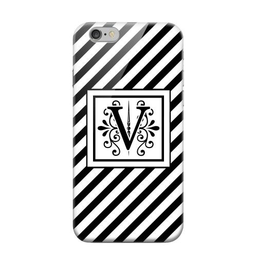 Geeks Designer Line (GDL) Apple iPhone 6 Matte Hard Back Cover - Vintage Vine Monogram V On Black Slanted Stripes