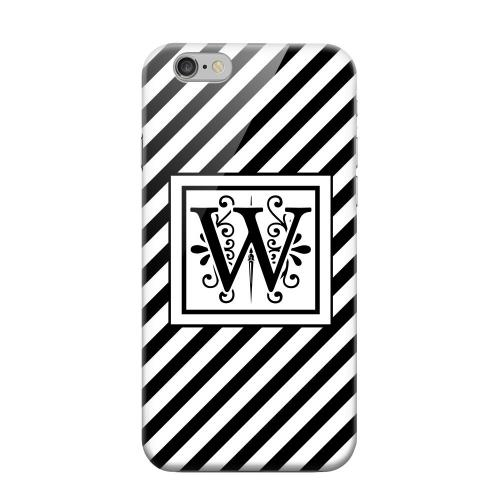 Geeks Designer Line (GDL) Apple iPhone 6 Matte Hard Back Cover - Vintage Vine Monogram W On Black Slanted Stripes
