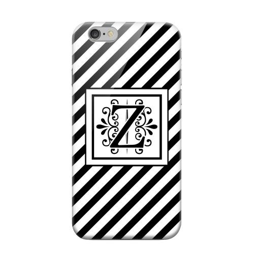Geeks Designer Line (GDL) Apple iPhone 6 Matte Hard Back Cover - Vintage Vine Monogram Z On Black Slanted Stripes
